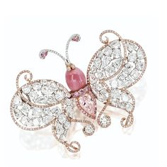 """CONCH PEARL, LIGHT PINK DIAMOND AND DIAMOND """"BUTTERFLY"""" BROOCH - Sotheby's"""