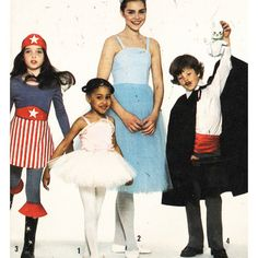 Simplicity Sewing Pattern 8222 Kids Costumes Magician, Ballerina, Wonder Woman, or a Princess Size: 4 & 6 or 7-8 Used