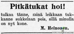 Parturin mainos sanomalehdestä joskus vuonna kivi ennen käpyä Old Commercials, Finland, Ads, Retro, Funny Things, Blues, Vintage, Historia, Funny Stuff