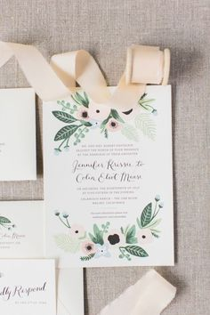 Floral inspired invitation suite: www.stylemepretty... | Photography: Koman Photography - komanphotography....