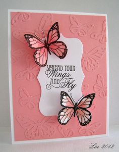 Faux embossing. Butterflies are die cuts same color as background