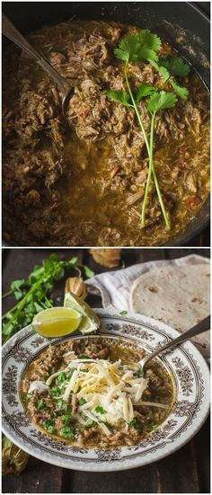 Hearty and comforting cold weather food! Chile Verde is perfect to serve over steamy rice or as a filling in burritos or tacos and you can use your crock-pot to cook it.