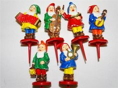 Vintage Western Germany Musical Elves Cake Picks Conductor & His 5 Pc Elf Band
