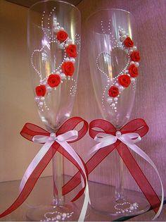 свадебные бокалы своими руками: 8 тыс изображений найдено в Яндекс.Картинках
