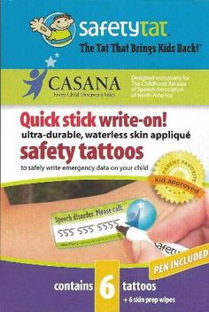 Keep your child safe! Safety Tat, temporary tattoo for children with speech disorders who can't tell people their name, contact information, etc.