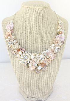 Pink Necklace Venise Lace Necklace Lace Jewelry Bib Necklace ...