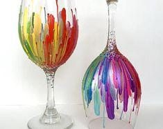 Rainbow Color Burst Wineglass Set of 2, hand-painted 20oz glasses