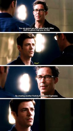 """""""You are gonna get your speed back, Allen. And I'm gonna help you do that"""" - Wells and Barry #TheFlash"""