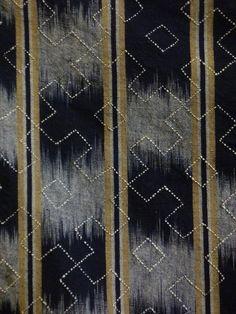 Sri   A Finely Sashiko Stitched Furoshiki: Kasuri Cotton and Beautifully Stitched Trim