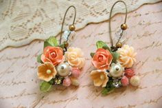 Peach posie.romantic shabby chic floral earrings.