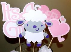 It's A Girl Baby Lamb Centerpiece Sticks.  This cute little package comes in your choice of package and color. Pin on your baby shower board or click pin to view listing.