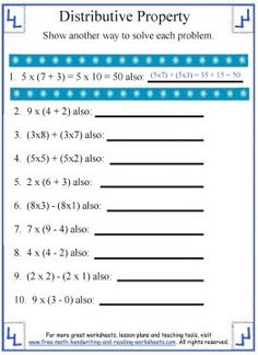 math worksheet : distributive property worksheet 3  addition properties  : Distributive Property Of Multiplication Worksheets 6th Grade