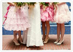 Loving these whimsical ruffled gowns!