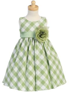Sage Cotton Gingham Check Dress