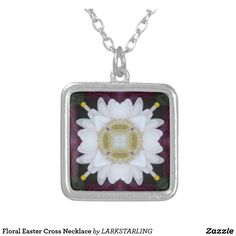 Floral Easter Cross Necklace