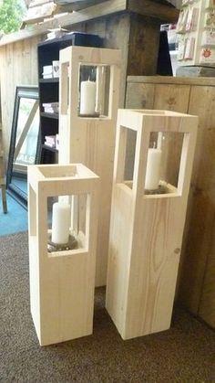 Steigerhouten Windlicht Hoogte 50 cm t/m 120 cm vanaf Woodworking Projects Diy, Diy Wood Projects, Wood Crafts, Woodworking Plans, Lantern Candle Holders, Candle Lanterns, Diy Lantern, Candle Stand, Wood Creations