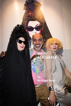 PARIS, FRANCE - SEPTEMBER 26: (L-R) Diane Pernet, Manish Arora and Catherine Baba attend the 'First Fragance Collection By Diane Pernet' : Launch Party as part of the Paris Fashion Week Womenswear Spring/Summer 2015 on September 26, 2014 in Paris at Galerie de Valois, France.