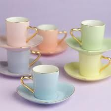 delicate pastel coffee cups