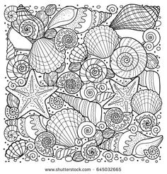 Vector coloring book for adult, for meditation and relax. Backgroun of sell, anchors, shells, stones and sand. Black and white image on a white background of isolated elements. Acquista questo contenuto vettoriale su Shutterstock e trova altre immagini.