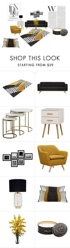 """""""Black and Yellow"""" by eve4ever ❤ liked on Polyvore featuring interior, interiors, interior design, home, home decor, interior decorating, OTTO and Nearly Natural"""