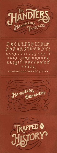 Introducing the new Handters #Typeface, another display serif font with handdraw style, and a touch of #ornament makes this #font look stylist. This font good for #vintage #design, #tshirt, #logo, #labels, #posters and etc.