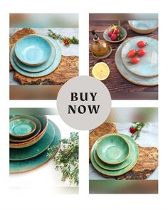Green Ceramic Dinnerware Set, Handmade Pottery Plate Set, Stoneware Dishes Dinner Plate Set, Rustic Tableware Plates and Bowls Place Setting Shop today 👍 Rustic Dinnerware, Dinnerware Sets, Pottery Plates, Ceramic Plates, Dinner Plate Sets, Dinner Plates, Plates And Bowls, Place Setting, Handmade Pottery