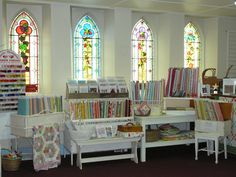 Inside the Quilted Crow patchwork shop in Newtown, Tasmania