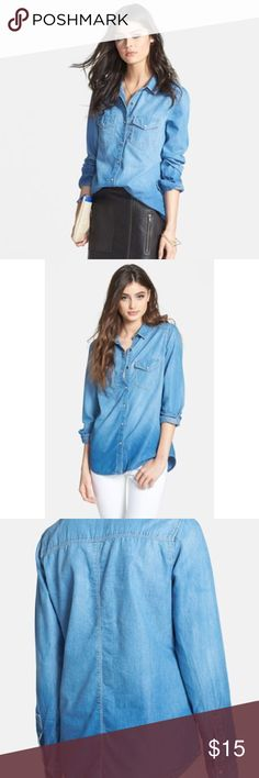 Hinge Chambray Shirt Subtle fading and classic button details style an essential chambray  Double-button cuffs.                                            26 in from shoulder to hem.  Chest pockets. 64% cotton, 36% lyocell. Machine wash cold, line dry or dry clean. By Hinge Nordstrom Tops Button Down Shirts