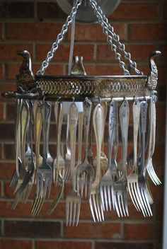Handmade chafing dish & silverware chandelier lamp-- haha - i love this for outside in the garden.