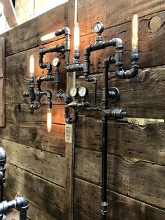 Super cool industrial pipe wall art This light has sold but we can make another,. Pipe Lighting, Rustic Lighting, Industrial Lighting, Lighting Design, Lampe Steampunk, Steampunk House, Steampunk Design, Industrial Pipe, Industrial Interiors