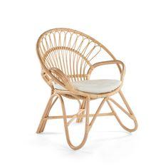 KOUBOO Round Rattan Loop Arm Accent Chair