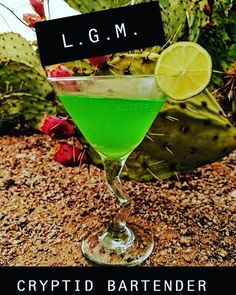 """Harley Sweat on Instagram: """"In this case, LGM stands for Little Green Martini. Normally, it's an acronym used to describe extraterrestrial life - Little Green…"""" Space Grunge, Bartender, Martini, Glass, Green, Life, Instagram, Drinkware, Corning Glass"""
