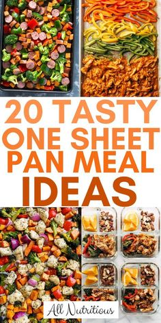 These sheet pan meals recipes are great when meal prepping for the whole week. The recipes are healthy and easy to make, so does for a quick healthy dinner or healthy lunch. # easy meals for the week 20 Tasty One Sheet Pan Meal Ideas Easy Healthy Meal Prep, Healthy Foods To Eat, Easy Dinner Recipes, Healthy Dinner Recipes, Meal Prep Dinner Ideas, Quick Lunch Recipes, Weekly Lunch Meal Prep, Healthy Weight, Easy Meals For Dinner