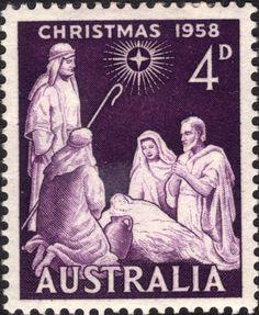 AUSTRALIA - CIRCA post stamp printed in Australia shows nativity; Rare Stamps, Vintage Stamps, Christmas Art, Vintage Christmas, Christmas Nativity, Christmas In Australia, Postage Stamp Design, Commemorative Stamps, Stamp Printing