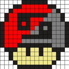 Zodiac Cancer Mushroom Perler Bead Pattern perler,hama,square pegboard,video games,nintendo, super mario bros,mushroom,