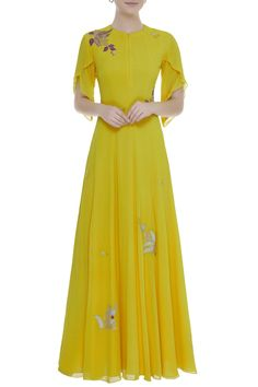Buy Embroidered Maxi Dress by Osaa by Adarsh at Aza Fashions Stylish Dresses, Nice Dresses, Kurta Style, Dress Design Sketches, Ethnic Gown, Houndstooth Dress, Applique Dress, Pakistani Dresses, Designer Dresses