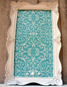 Items similar to Beautiful Tiffany Blue Fabric - Magnetic Board 17 x 28 .5 Magnetic Board - Beach wedding - SHabby Chic Bedroom on Etsy