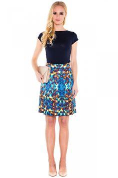 Niebieska spódnica we wzory - L'ame de Femme