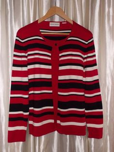 Striped cardigan faux twinset sweater red white black, L missing size label  #AlfredDunner #Cardigan #Work