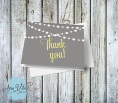 INSTANT DOWNLOAD - String of Lights Thank You Note Card DIY #party #printable #diy #thankyou