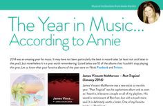 Page 38 from 'Fête Greenville December 2014' by jay. Annie's picks for favorite music in 2014. https://readymag.com/u83569656/47495/38/ #fetegreenville