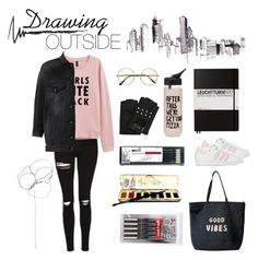 """""""Drawing Outside Feeling"""" by cupofcreateavity on Polyvore featuring Blume, Topshop, Karl Lagerfeld, Retrò, R13, ban.do, Leuchtturm1917, Venus and adidas"""