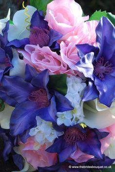 Purple clematis Brides Bouquet. Pink rose, calla lily, hydrangea and clematis silk brides posy