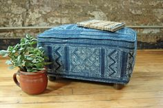 Box Footstool with Vintage Hmong Batik Fabric in Indigo Blue  - Upcycled Furniture by territoryhardgoods on Etsy