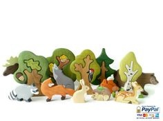 This big set includes Forest animals set (9 pcs) and tree set (5 pcs).  Forest animals:  Elk, Bear, Wolf, Fox, Racoon, Reindeer, Squirrel, Hare, Hedgehog  Trees:  Oak tree, Oak tree & an owl, Tree & a bird, Fir tree, Birch tree.    Shop this product here: http://spreesy.com/Wooden_Caterpillar/4 | Shop all of our products at http://spreesy.com/Wooden_Caterpillar    | Pinterest selling powered by Spreesy.com