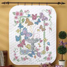 Herrschners/® Cardinal Joy Lap Quilt Top Stamped Cross-Stitch Kit