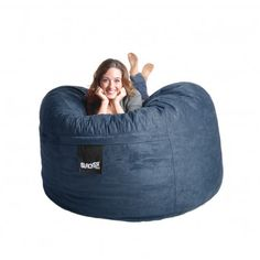 Bean Bag Chair Size: Large, Color: Navy Blue - http://delanico.com/bean-bag-chairs/bean-bag-chair-size-large-color-navy-blue-525977415/