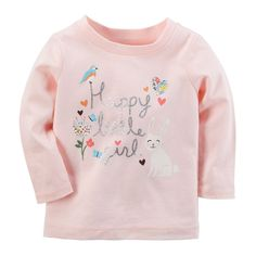 "Baby Girl Carter's ""Happy Little Girl"" Animal Graphic Tee, Size: 18 Months, Light Pink Baby Girl Tops, Carters Baby Girl, Baby Girls, Girl Toddler, Girls Tees, Shirts For Girls, Little Girl Outfits, Kids Outfits, Animal Graphic"