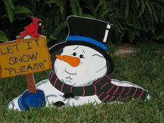 Christmas Let It Snow Frosty by YardArtandSoMuchMore on Etsy, $39.95