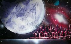 Spray Paint Art Original Space Cityscape Galaxy Large by EacArt